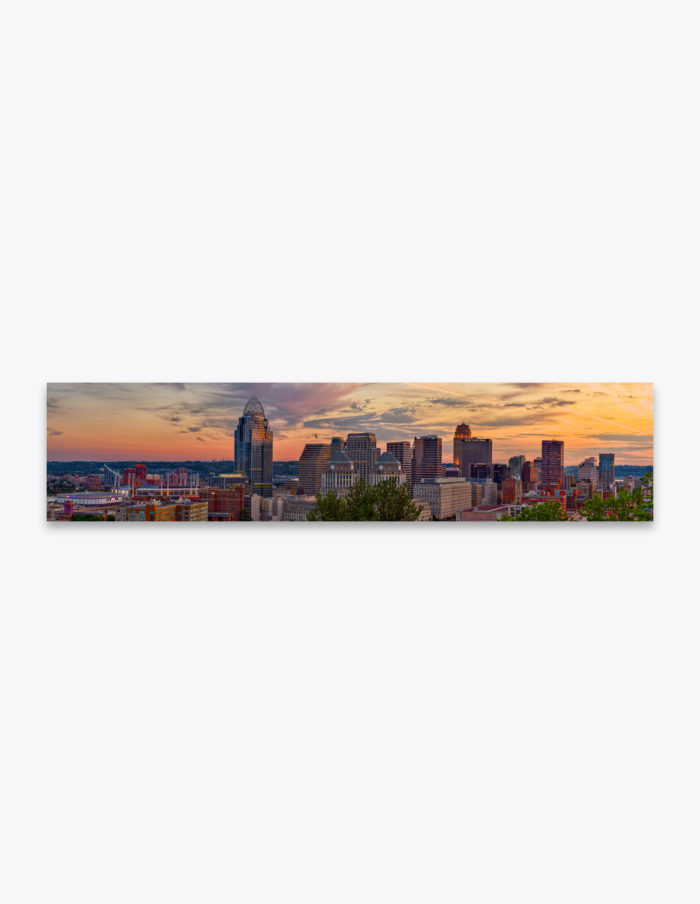 The Cincinnati skyline at sunset from atop Mt. Adams.